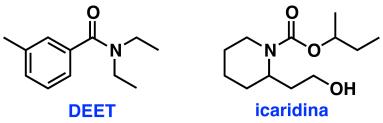 Estructuras químicas de la DEET y la icaridina