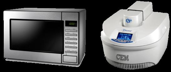 Ejemplos de hornos de microondas modernos: doméstico (izquierda) y para reacciones químicas (derecha)